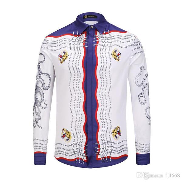 all new italy 2018 Autumn Spring Europe Catwalk Men's Shirts Medusa Brand shirt 3D print long sleeve Leisure shirt M-XXL.
