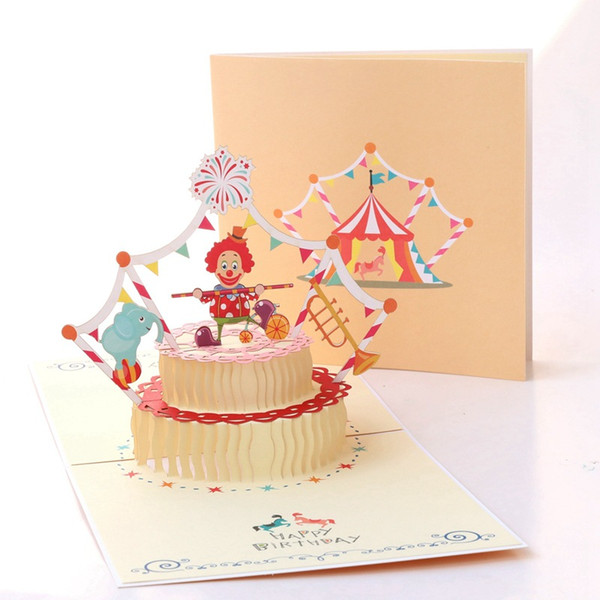 1pc 3D Birthday Greeting Gifts Cards 3D Pop Up Laser Cut Postcards Baby Shower Invitations Vintage Handmade Circus Theme Cake