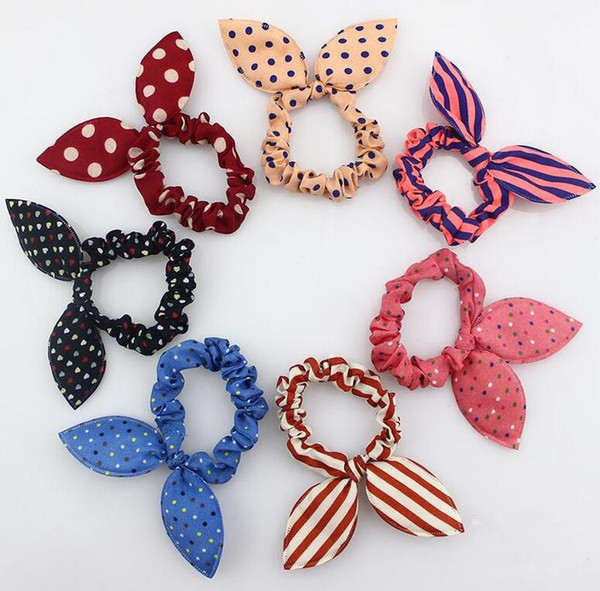 top popular New 100Pcs lot Children Women Hair Band Cute Polka Dot Bow Rabbit Ears Headband Girl Ring Scrunchy Kids Ponytail Holder Hair Accessories 2019