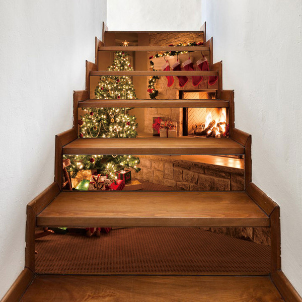 3D Stair Wall Stickers Christmas Art Steps Sticker PVC Decals For Xmas Home  Living Room Decoration New Year Decor 18x100cm Y200103 Decorating Stickers  ...