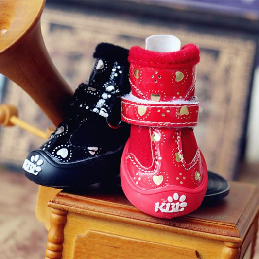Small Dog Shoes Bling Love Pet Shoes for Puppies Cats Spring Autumn Boots Casual Breeds Animals Shoes 4pcs/set Black Red