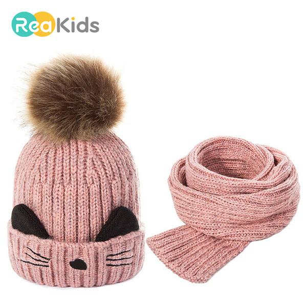 REAKIDS New Inverno Pompon Hat bebê dos desenhos animados malha de algodão Crianças chapéu morno para meninas dos meninos malha Gorros Inverno Hat bebê CJ191213
