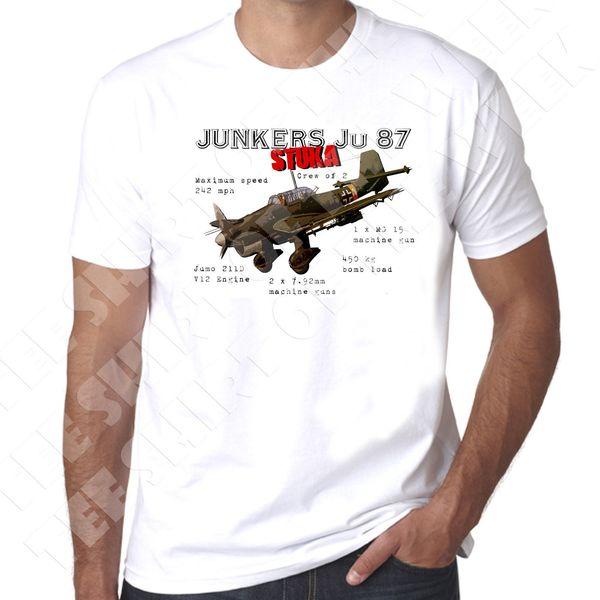 Junkers Ju-87 Alemão Mergulho Bomber ww2 Mens 100% algodão camiseta Nova Moda Casual Algodão de Manga Curta Engraçado Top Tee impressão