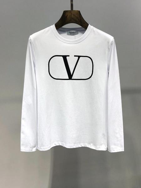 T-shirt à manches longues imprimées en coton de haute qualité imprimé à l'automne 2019 # 5405