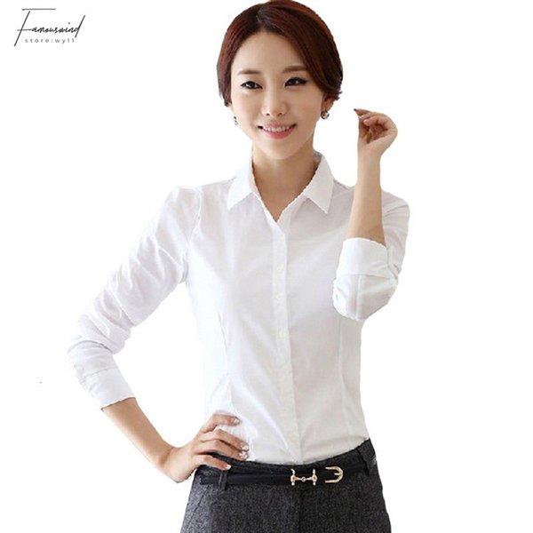 2019 botón superior del verano del estilo de la blusa de la gasa de las mujeres de calidad camisas de manga larga gira el collar abajo Blanco Camiseta Camisa Blusas Femininas