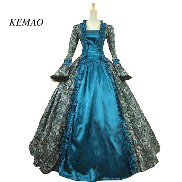 KEMAO викторианский костюм в стиле рококо, женское платье для взрослых, фиолетовый, винтаж, косплей, с длинными рукавами