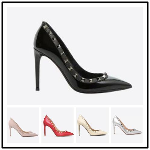 Sıcak Satış-Sivri Burun Çiviler yüksek topuklu Patent Deri perçinler Sandalet Kadın Çivili Strappy Elbise Ayakkabı sevgililer yüksek topuk Elbise Ayakkabı 9230