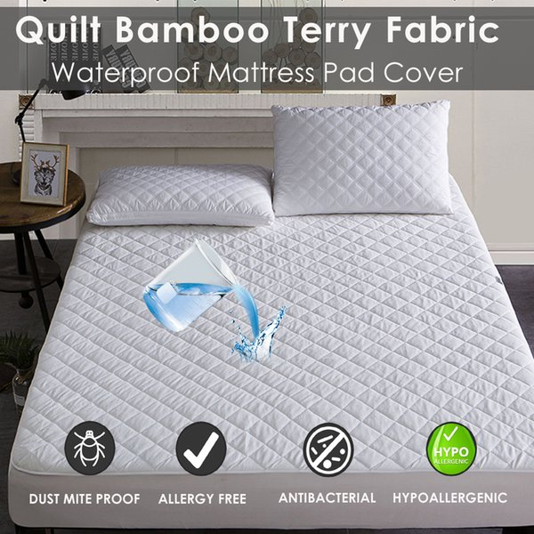 1PC Bamboo Hypoallergenic fitted Mattress Protector Waterproof Cover Breathable