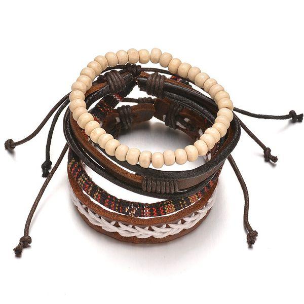 Pulsera étnica vintage de cuentas de madera de coco Pulsera de cuero multicapa de cuerda tejida apilable