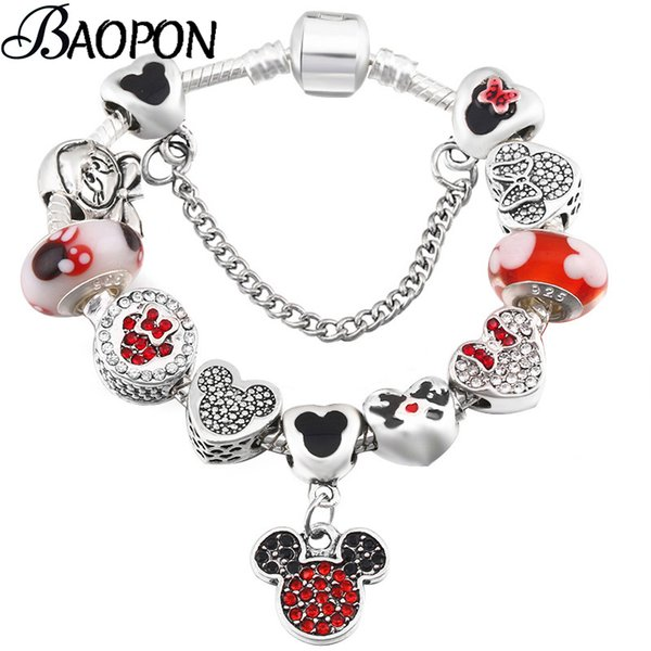 Silver Snake Chain Charm Bracelet With Mickey Enamel Beads Pandora Bracelets & Bangle For Women Kids Jewelry Dropshipping