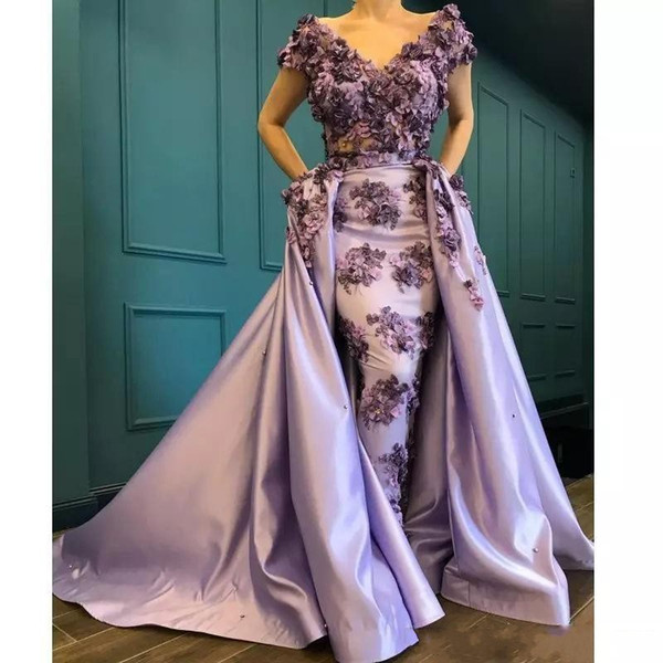 2020 Luxury Mermaid African Prom Dresses V Neck Lace 3D Appliques Flowers Satin Short Sleeves With Overskirts Pageant Party Evening Gowns