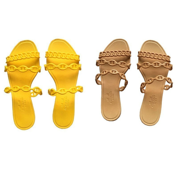 Luxury Designer Europe and the United States new plastic chain beach shoes candy color jelly sandals chain flat bottomed out sandals 35-40