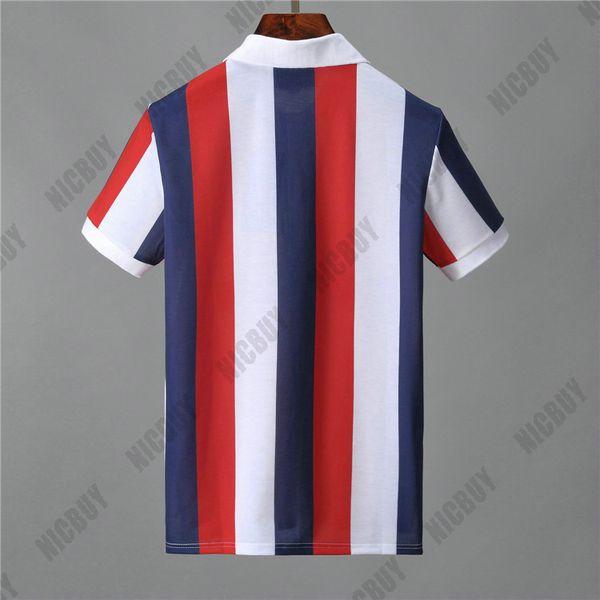 Designer Mens marca polo t-shirt da moda roupas de verão t shirt clássico tarja carta azul branco vermelho camiseta turn-down collar Casual tee top