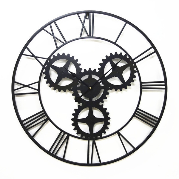 Large 70cm American Black Antique Wall Clock Iron Vintage Gear Bar Coffee House Clocks Wall Home Decor Large Clock