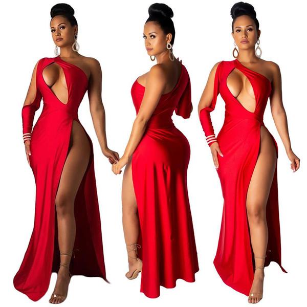 Pure Red Patchwork Mujeres atractivas visten los trajes del partido Manga completa Cuello oblicuo Hollow Out High Splits Empire Lady vestido largo