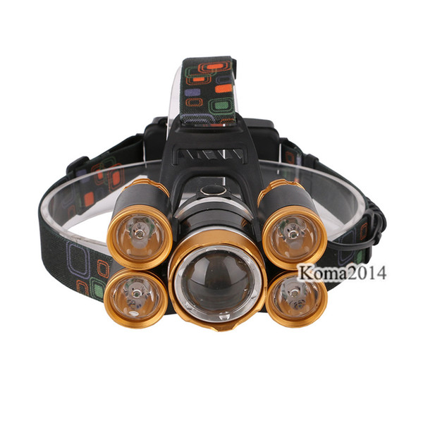 wholesale Rechargeable Head Light T6 XPE Aluminum alloy+TPU Golden LED Headlamp front head lamp 18650 Battery tool box
