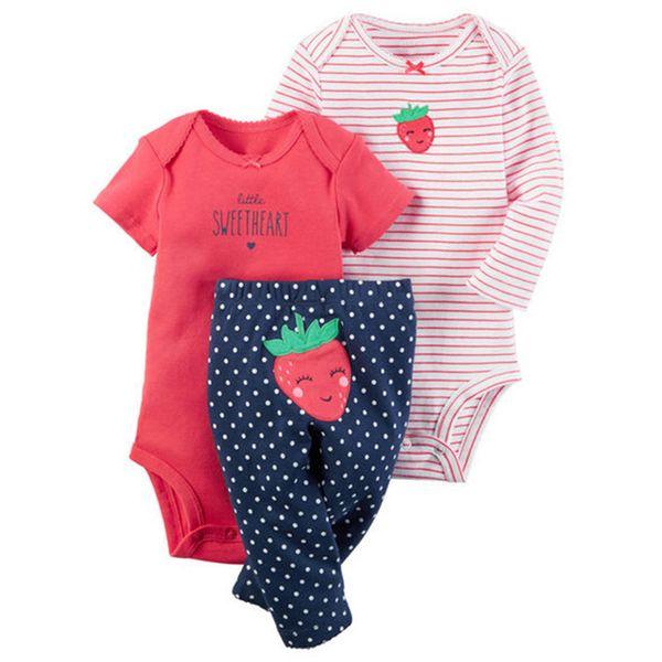 baby boy girl clothes set strawberry (long sleeve romper +short sleeve jumpsuit + pants)kids boy bebes baby layette Clothing Set