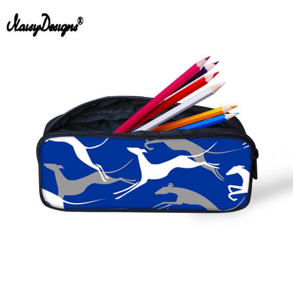 Noisydesigns Greyhound Impresión de Dibujos Animados Lienzo Escuela Estuches de lápices Gran Cremallera Bolsa Kawaii Boy Kid Lápices Pounch Animal Oficina Caja