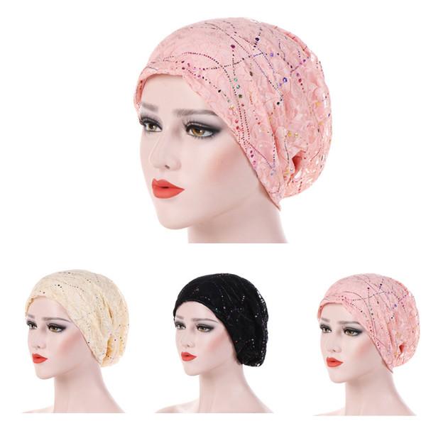Fashion Style New Lace Scarf Caps Muslim Cap Turban Chemo Beanie Hat Women Hair Accessories