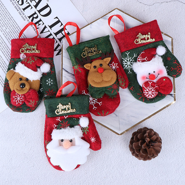 Santa Reindeer Christmas New Year Gloves Pocket Fork Knife Cutlery Holder Bag Chrismas Decoration Kitchen Tools