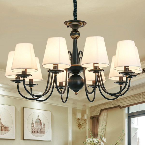 Black Rustic Chandelier Ameican Style Wrought Iron Chandelier With Lampshade Dining Room Bedroom Hotel Salon Hanging Lamp Pendants Lighting Instant