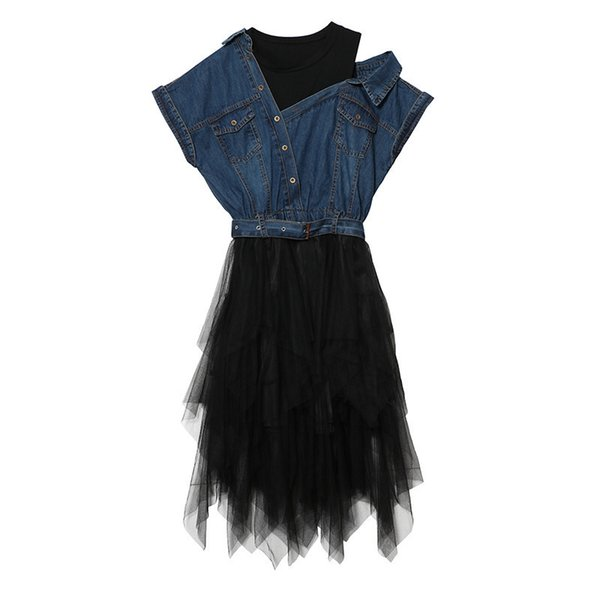 Deat Tulle Denim Summer Dress Tunic Female Jean Dresses For Women Casual Bandage Sexy Off Shoulder Big Size Clothes Wb08601 J190429