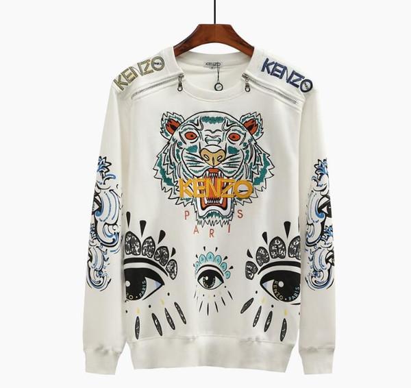Felpa 2020 autunno inverno nuova moda casuale coppie a maniche lunghe maglione tigre testa occhi degli uomini del ricamo equipaggio cerniera giacca con cappuccio collo
