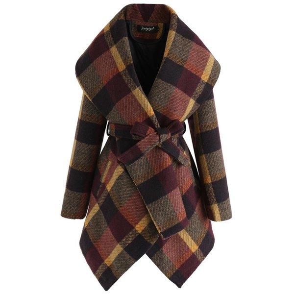 Yüksek Kalite Kış Kaban Kadın açın Aşağı Şal Yaka Kalın Ceket Palto Yün Ceket Ekose Sanded Abrigo Mujer