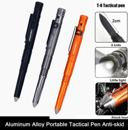 Multi-function Self Defense Tactical Pen LED Flashlight Torch Light Glass Braker Survival Tool Tungsten steel Writing Pen with Whistle