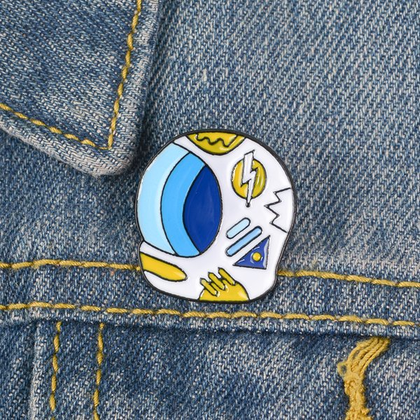 White Astronaut Helmet Enamel Pin Badge Lightning Sun Various Weather Brooch Aerospace Dream Jewelry Take You Explore Space