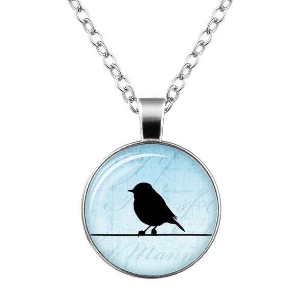 Foreign trade explosion necklace Fashion retro bird time gemstone glass dome pendant necklace Creative clothing ornaments wholesale