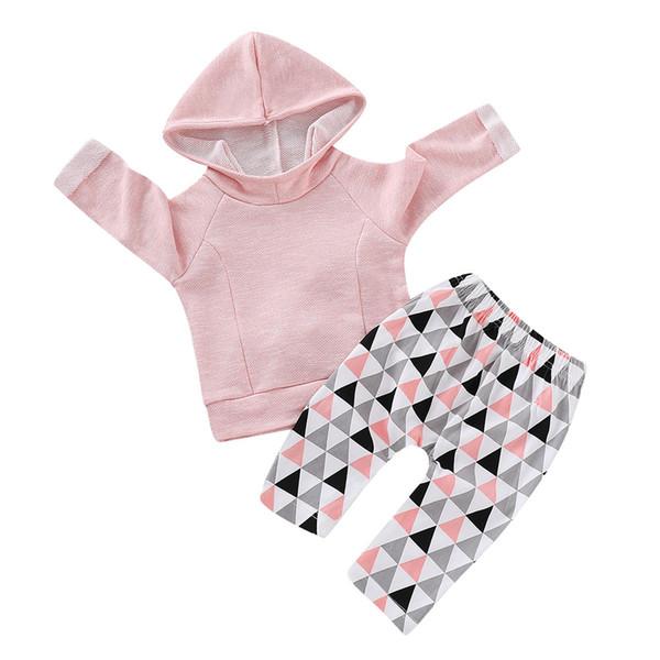 Mikrdoo малыш новорожденный мальчики девочки с капюшоном одежда набор твердых с длинным рукавом треугольник брюки весна осень 2 шт. наряд