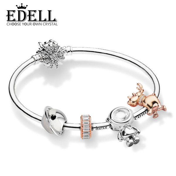 EDELL 100% 925 Sterling Silver ZT0214 Space Journey Winter Bracelet Setp ROSE REINDEER CHARM Planet of Love Charm Astronaut