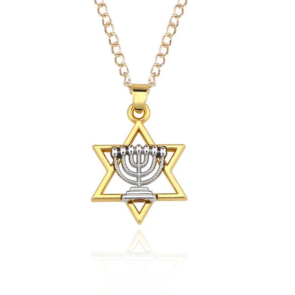 Fashion Rhodium Faith Menorah Candlestick And Gold David Star Charm Pendent Necklace Link Chain Free Shipping