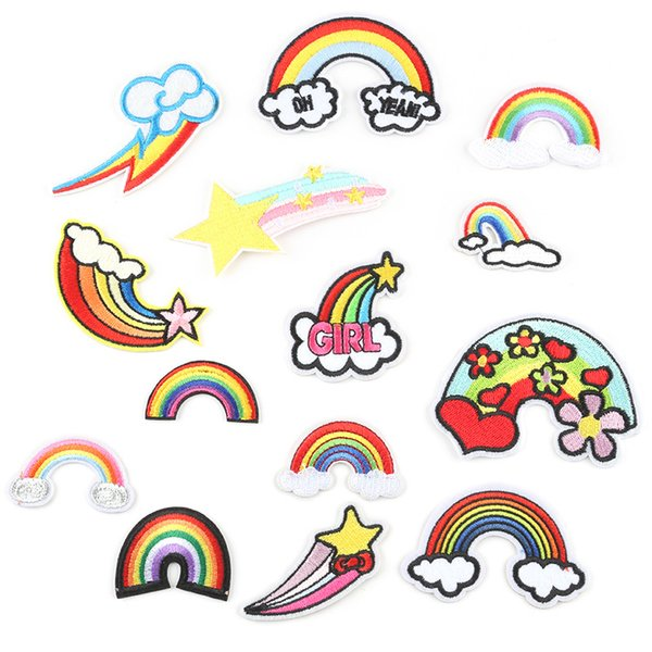 Cartoon Rainbow Embroidery Patches Beautiful Rainbows Sew Iron On Patch Applique DIY Badge For Baby Kids Jacket Jeans Bag