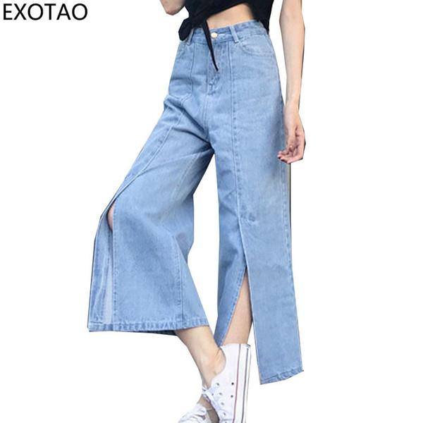 Exotao Vintage Split Wide Leg Denim Pants For Women Ankle-length High Waist Jeans Female 2017 Autumn Vaqueros Pantalones Mujer Y19072301