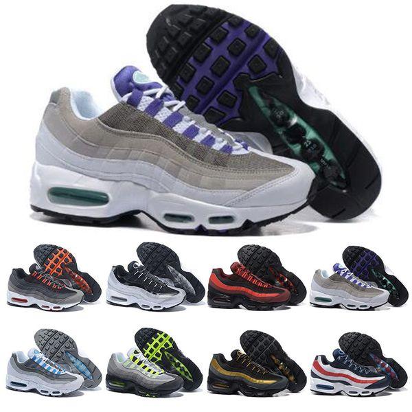 Nike Air Max 95 Barato Para Hombre Para Mujer Zapatos Para Correr Lo Que El OG Grape Neon TT Negro Rojo Hombres Zapatillas Triple Blanco Deportes