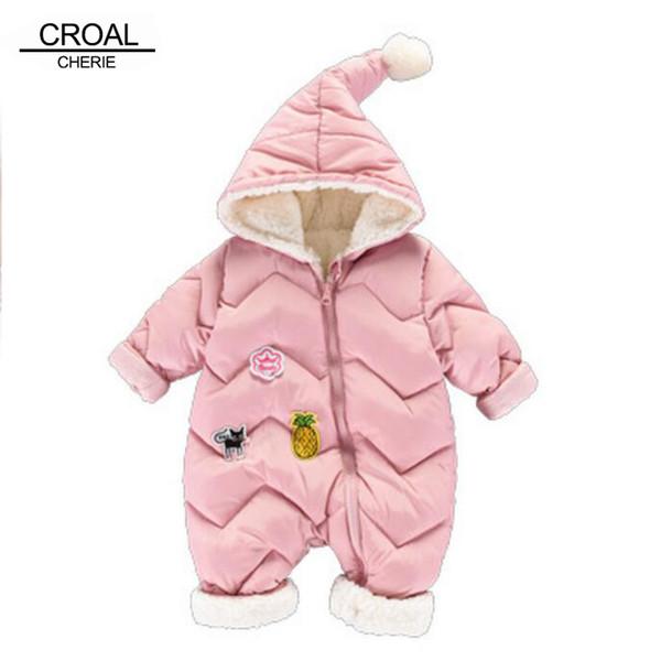 Croal Cherie 60-100 cm Winter Mädchen Jungen Kleidung Warme Fleece Samt Neugeborenen Strampler Säuglingskostüm Rosa Himmelblau Q190520