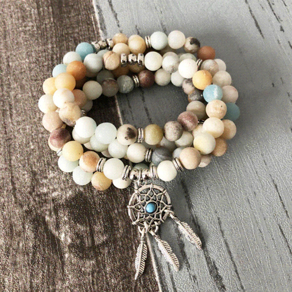 8MM Amazonite Mala Bracelet Dream catcher Pendant bracelets Unisex 108 Prayer Beads Matte Amazonite Necklace and Bracelet
