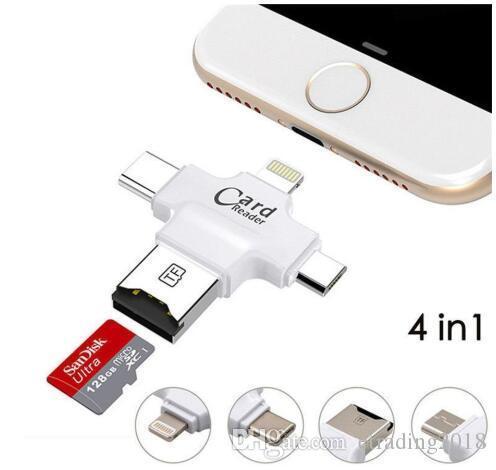 4 en 1 Lector de tarjetas Micro SD / Micro USB / USB 2.0 Lector de tarjetas de memoria Micro SD para Android iPhone 7