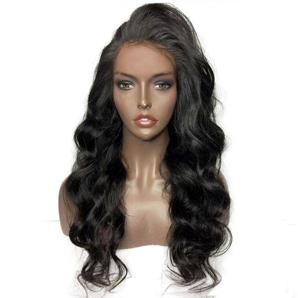 Linha fina Natural Bom Cabelo Brasileiro Onda Solta Peruano cheia do laço perucas de cabelo humano Com o Cabelo Do Bebê Para As Mulheres Negras