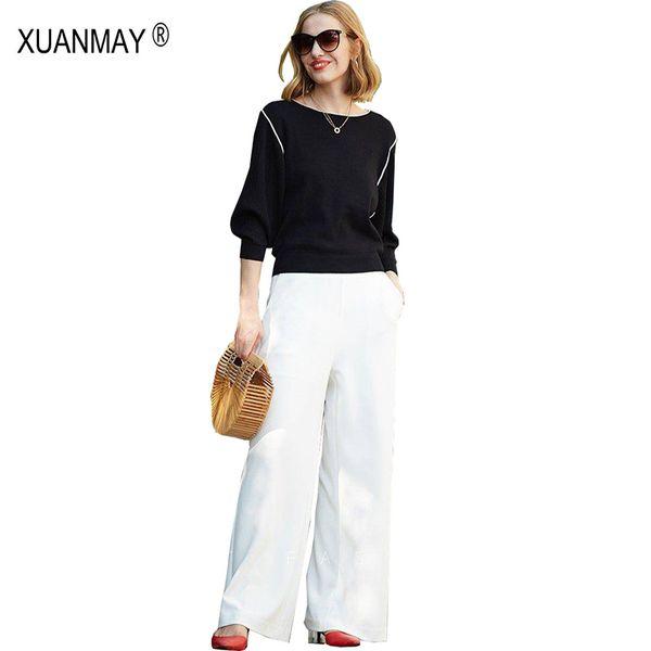 Primavera em torno do pescoço listrado camisola de malha Moda e elegante camisola branca 2019 Marca de design preto Primavera camisola de confecção de malhas mulher
