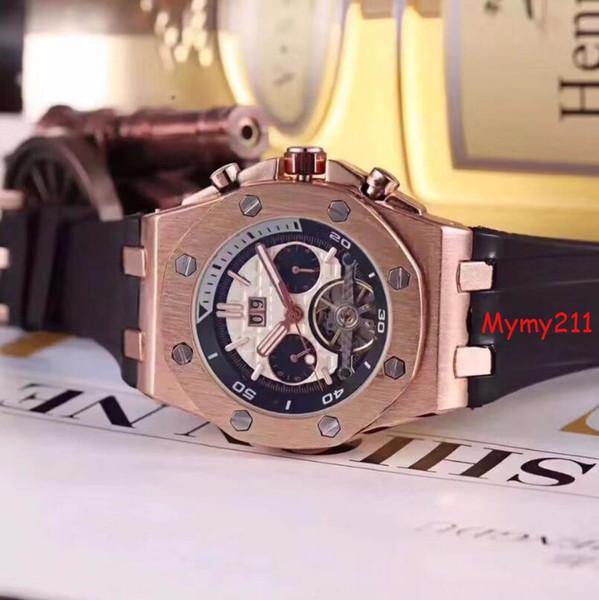 Acero inoxidable Tourbillon esfera de un reloj de pulsera reloj mecánico automático Hombres más delicados de calidad de los relojes del movimiento del impermeables