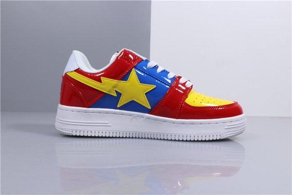 2019 Classical Restoration Skate Shoes Designer Shoes Footsoldier BAPESTA Leather Spliced High Quality Mans Womans Casual Shoes n060