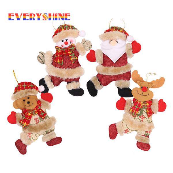 4pcs / lot muñecas Baile de Navidad de Santa Claus muñeco de nieve de felpa gota colgantes regalo niños árbol de navidad de accesorios colgantes SD390