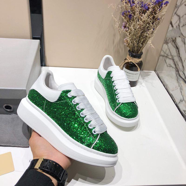 2019 New Mens Womens White Green Back Platform Shoes Flat Casual Shoes Lady Black Pink Red Gold Women White sf99682