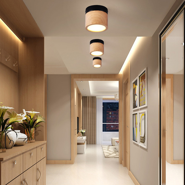 Großhandel Moderne Eisen Holz Deckenleuchte Nordic Holz Led Deckenleuchten  Für Wohnzimmer Schlafzimmer Treppe Korridor Gang Leuchten Von Lightfixture,  ...