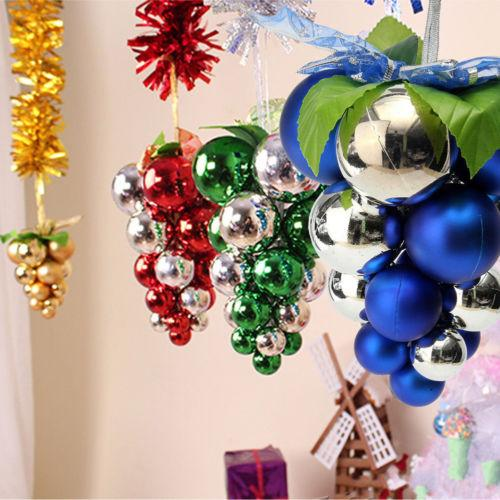 Hanging Christmas Decorations Outside.Christmas Grape String Balls Baubles Hanging Ornament Xmas Party Home Decoration Outside Christmas Decoration Outside Christmas Decorations From