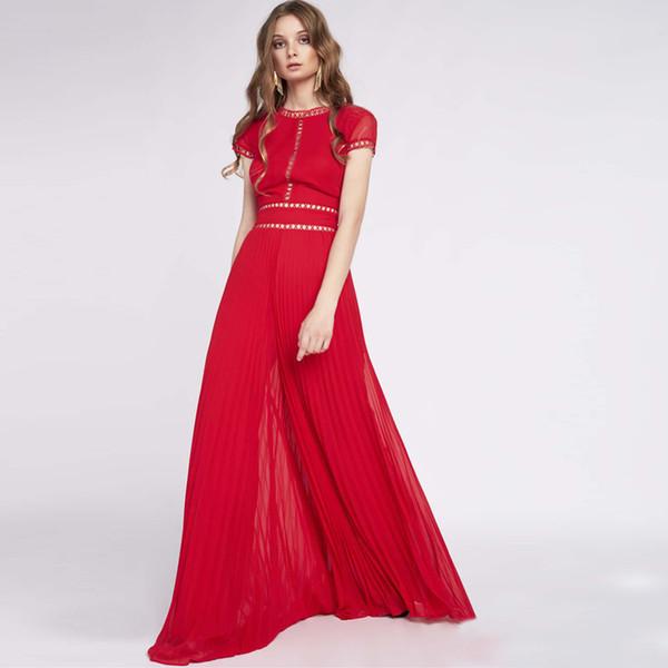 Высококачественные Новейшие 2019 Дизайнер Моды Платье женская О-Образным Вырезом С Коротким Рукавом Твердые Выдалбливают Лоскутное Плиссированное Макси Длинное Платье
