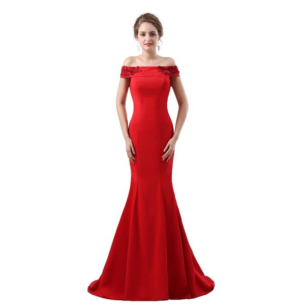 wholesale Sey Red Mermaid Prom Dresses Satin Floor Length Boat Neck Lace-Up Robe De Soiree Beading Crystal Women Evening Gown